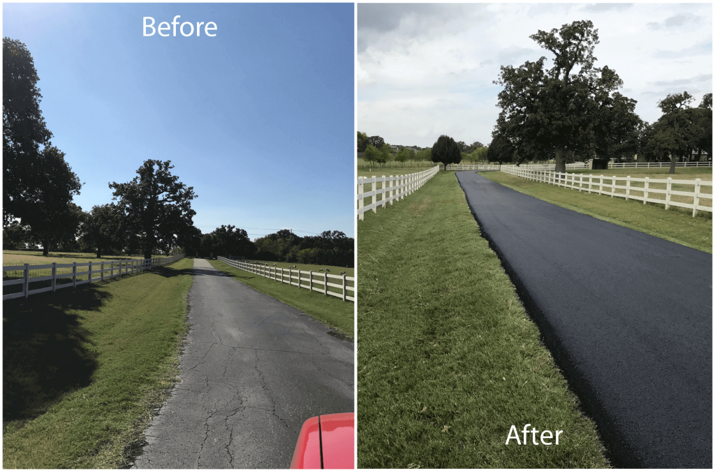Before and After Photos of a residential asphalt overlay