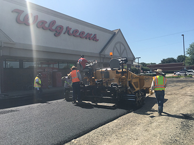 Completed commercial asphalt paving project at Walgreens in Fort Worth, Texas |Commercial Paving Company