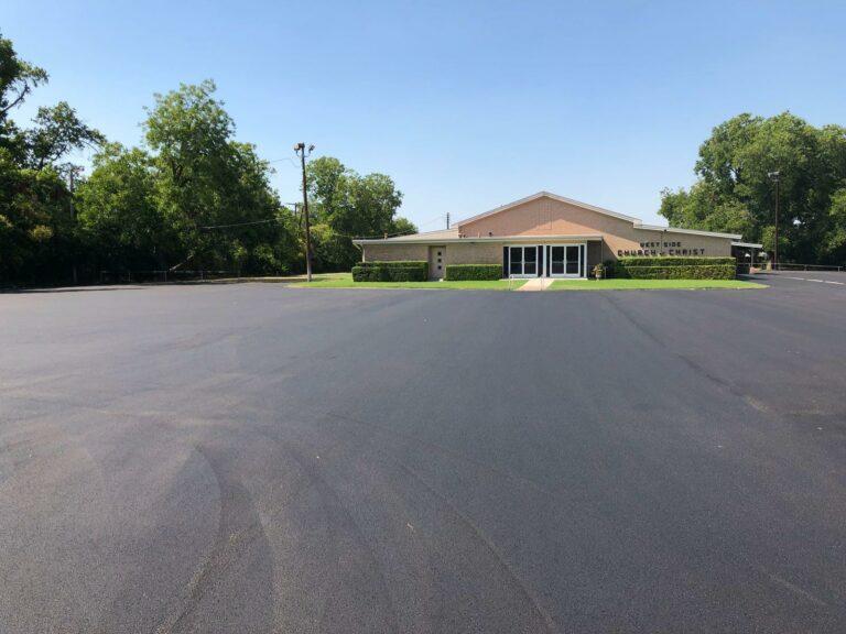 Paved Asphalt Parking Lot at Church