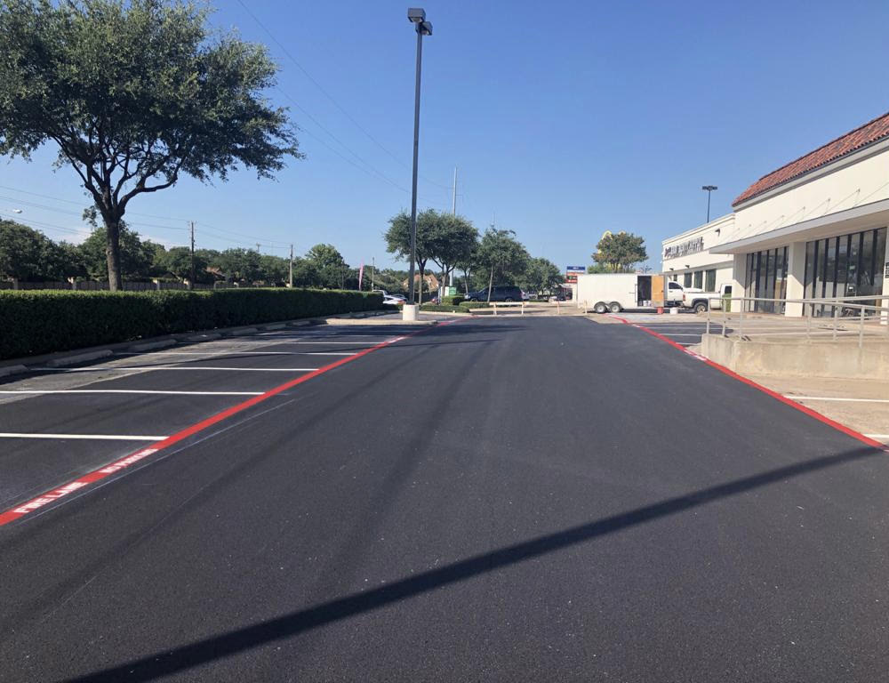 Paved Parking Lot in Shopping Center in Dallas, Texas