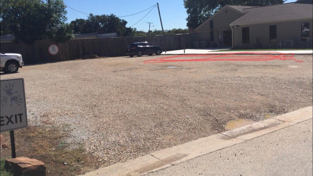 small commercial paving job before