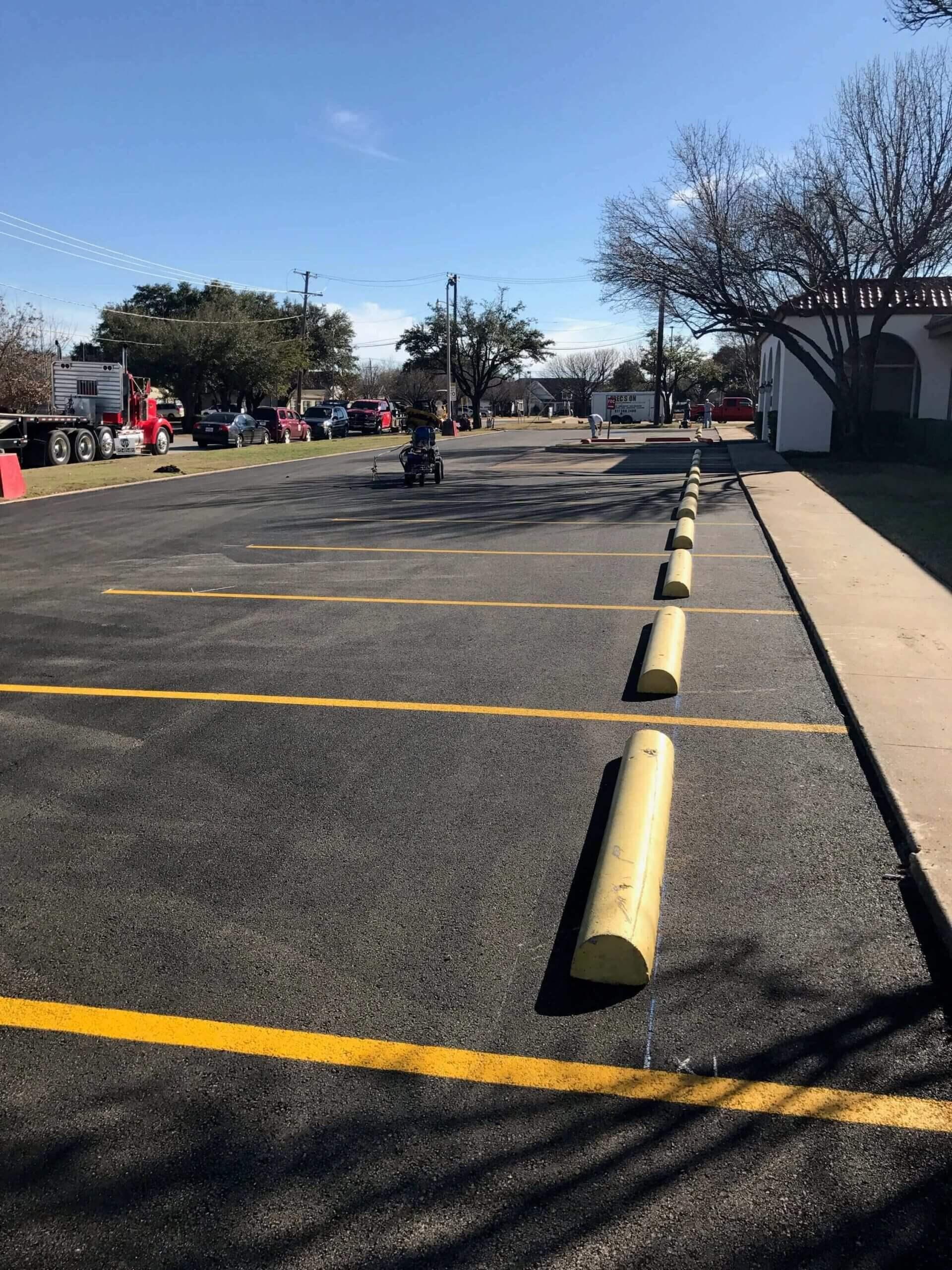 St johns catholic church parking lot striping new